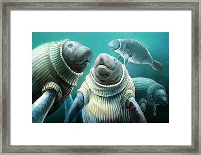 Sweater Manatee Tribe Framed Print