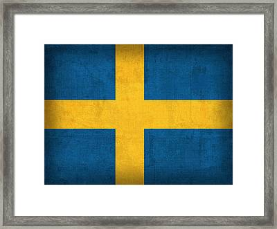 Sweden Flag Vintage Distressed Finish Framed Print by Design Turnpike