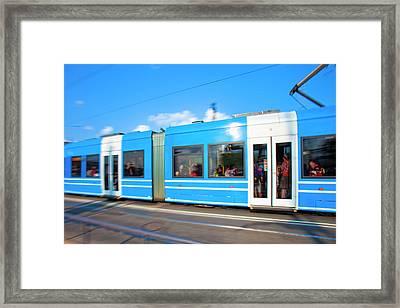Sweden, Stockholm - Modern Tram Framed Print