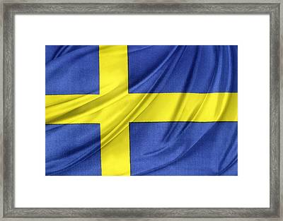 Swedish Flag Framed Print by Les Cunliffe