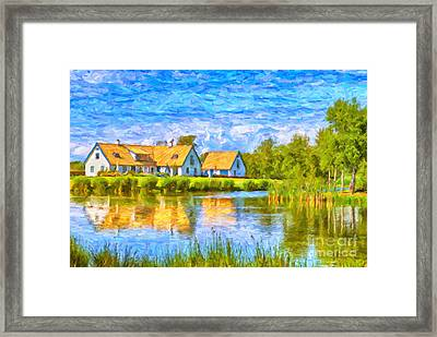Swedish Lakehouse Framed Print by Antony McAulay