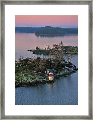 Framed Print featuring the photograph Swedish Lighthouse At Dawn by Marianne Campolongo