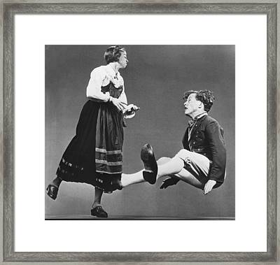 Swedish Wooden Shoe Dance Framed Print by Underwood Archives