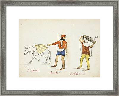 Sweeper And His Wife With Their Donkey Framed Print by British Library