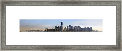 Sweeping Panorama Of New York City Before Sunset Framed Print