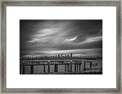 Sweeping Vista Of Downtown Seattle From Alki Beach - Seattle Washington Framed Print by Silvio Ligutti