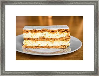 Sweet And Tasty Slice Of Cream Cake Framed Print