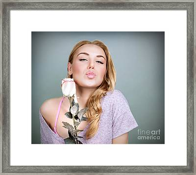 Sweet Female With Rose  Framed Print by Anna Om