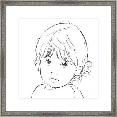 Framed Print featuring the drawing Sweet Girl by Olimpia - Hinamatsuri Barbu
