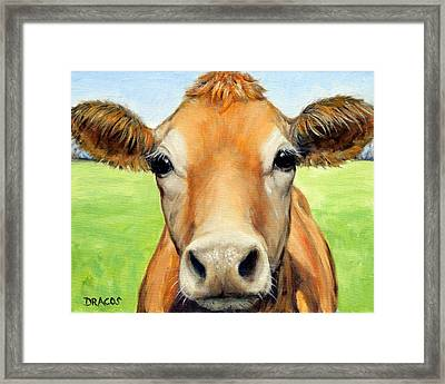 Sweet Jersey Cow In Green Grass Framed Print by Dottie Dracos