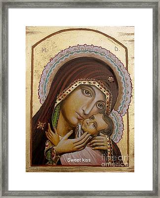 Framed Print featuring the painting Sweet Kiss  Icon by Sorin Apostolescu