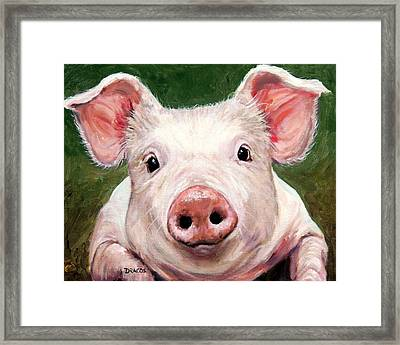 Sweet Little Piglet On Green Framed Print by Dottie Dracos