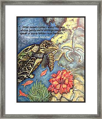Framed Print featuring the mixed media Sweet Mystery Of This Sea A Hawksbill Sea Turtle Coasting In The Coral Reefs 2 by Kimberlee Baxter