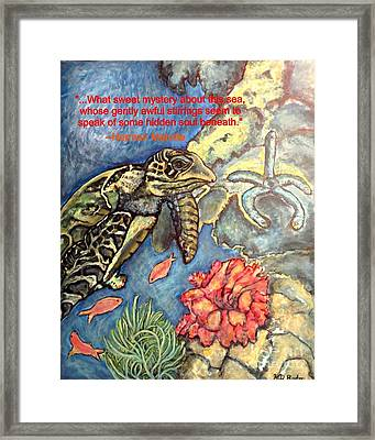 Framed Print featuring the painting Sweet Mystery Of This Sea A Hawksbill Sea Turtle Coasting In The Coral Reefs by Kimberlee Baxter