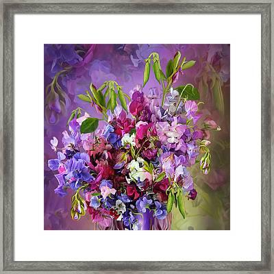 Sweet Pea Bouquet Framed Print