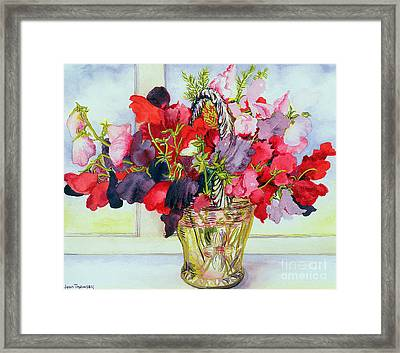 Sweet Peas In A Vase Framed Print by Joan Thewsey