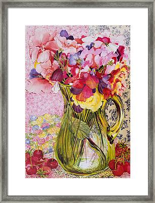 Sweet Peas With Cherries And Strawberries Framed Print by Joan Thewsey