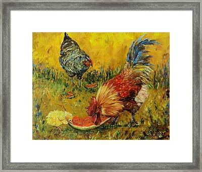 Sweet Pickins, Chickens Framed Print
