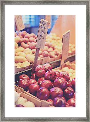 Framed Print featuring the photograph Sweet Red Onions by Heather Green