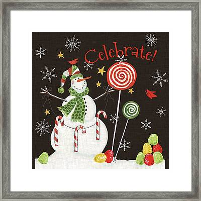 Sweet Snowmen I Black Framed Print by Anne Tavoletti