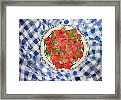 Sweet Strawberries Framed Print by Janet Immordino