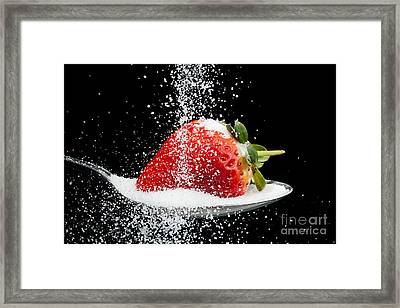 Sweet Strawberry With Sugar Granules Framed Print