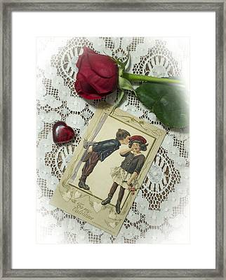 Sweet Valentine Couple Framed Print by Wayne Meyer