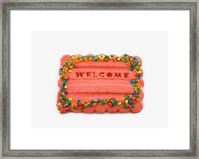 Sweet Welcome Mat Framed Print