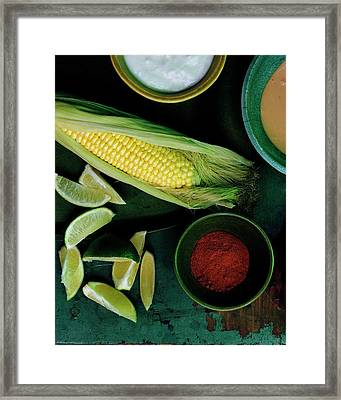 Sweetcorn And Limes Framed Print by Romulo Yanes