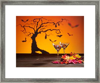 Sweets In Halloween Setting With Tree Framed Print by Ulrich Schade