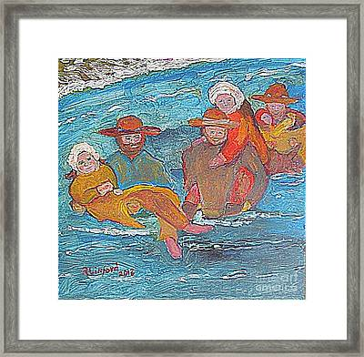 Sweetwater River Crossing Willie Handcart Company Framed Print by Richard W Linford