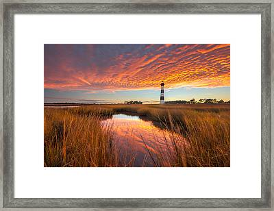 Framed Print featuring the photograph Swept Away - Bodie Island Lighthouse by Bernard Chen