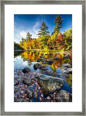 Swift River Autumn Reflections Framed Print by George Oze
