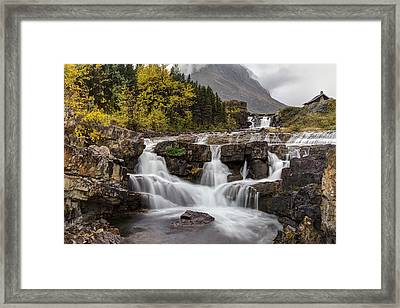 Swiftcurrent Falls In Autumn Framed Print