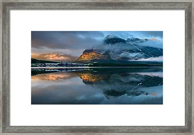 Swiftcurrent Lake Sunrise Framed Print by Dan Mihai