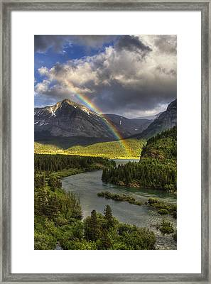 Swiftcurrent River Rainbow Framed Print by Mark Kiver
