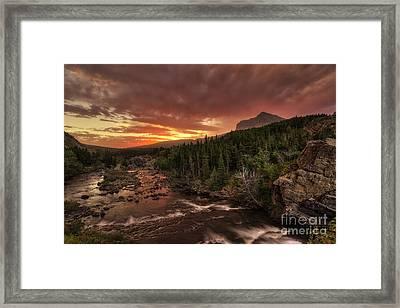 Swiftcurrent River Sunrise Framed Print