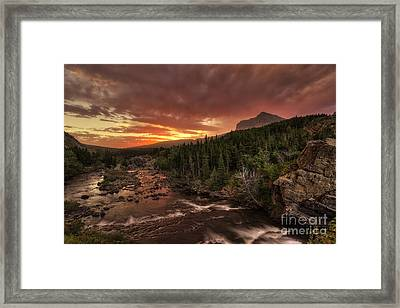 Swiftcurrent River Sunrise Framed Print by Mark Kiver
