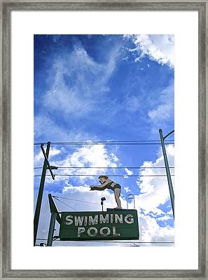 Swim Here Framed Print
