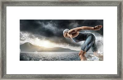 Swimmer About To Dive In Sea Framed Print by Peepo