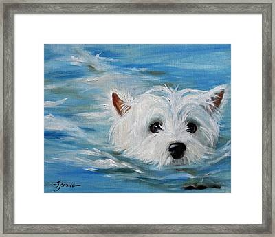 Swimmer Framed Print by Mary Sparrow