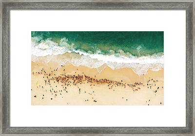 Swimmers Waiting For An Ocean Race To Framed Print