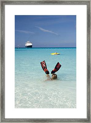 Swimming At A Caribbean Beach Framed Print by David Smith