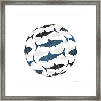 Swimming Blue Sharks Around The Globe Framed Print by Amy Kirkpatrick