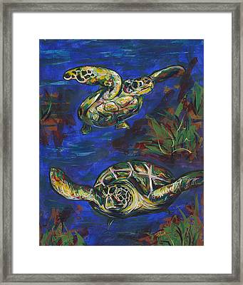 Swimming Buddies Framed Print by Lovejoy Creations