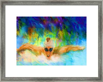 Swimming Fast Framed Print by Lourry Legarde