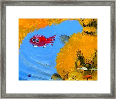 Swimming Of A Yellow Cat Framed Print