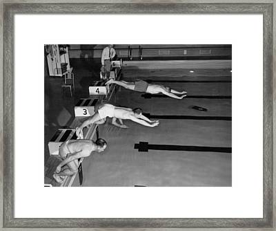Swimming Race Start Framed Print by Underwood Archives