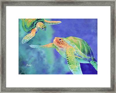 Swimming Seaturtles Framed Print by Anke Wheeler