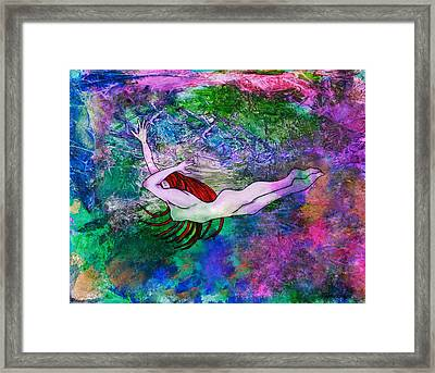 Underwater Swimmer Framed Print by Janet Immordino
